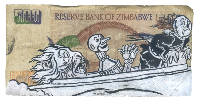 Scarecrow Lion Tinman - Ink and Acrylic on 500 Zimbabwean Dollar bill (2016)